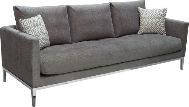 Cau Loose Pillow Back Sofa In Azure Gray Fabric