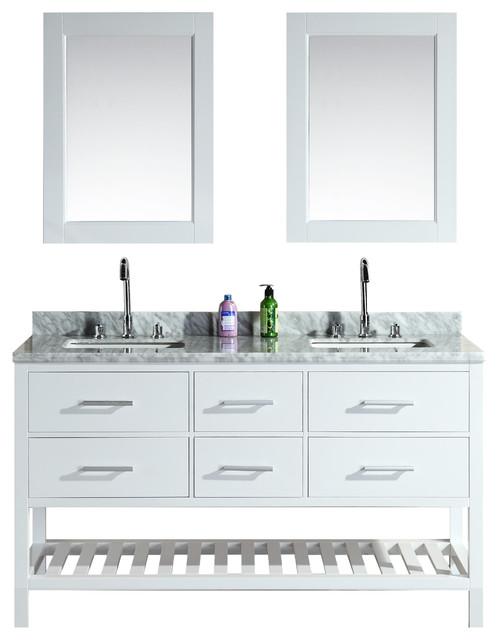 london 61 double sink vanity set white open bottom contemporary bathroom