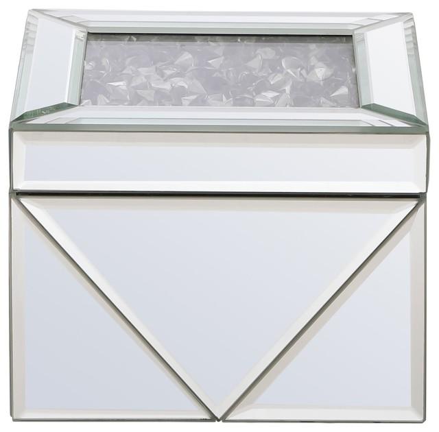 Elegant Lighting MR9212 Modern 5 Inch Wide Mirrored Crystal Lift Top Jewelry Bo