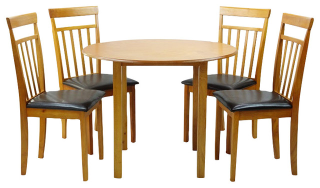 Phenomenal Dining Kitchen Set Of 5 Piece Round Table And 4 Classic Solid Wood Chairs Warm Home Interior And Landscaping Mentranervesignezvosmurscom
