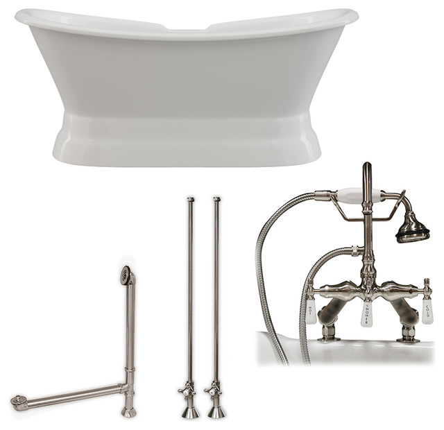Cast Iron Double Ended Slipper Tub 71x30 Complete BN Package by Cambridge Plumbing