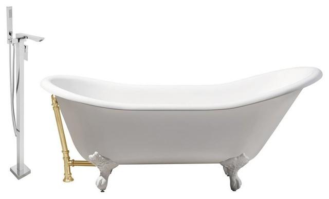 "Streamline 67"" Faucet And Cast Iron Tub Set, Gold Popup Drain, Showerhead H-140."