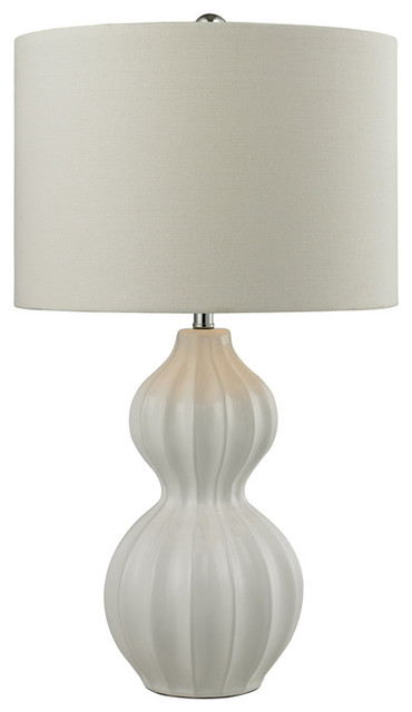 Delicieux Ribbed Gourd Table Lamp, Gloss White
