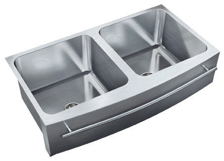 Just Double Bowl Apron Sink 19.5x36 Undermount Radius Front Edge With Towel  Bar Contemporary