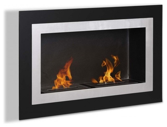 Villa wall mounted ventless ethanol fireplace modern for Ventless fireplace modern