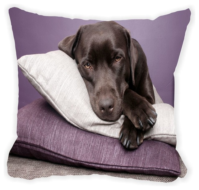 Black Microfiber Throw Pillows : Black Labrador Dog On Pillows Microfiber Throw Pillow - Contemporary - Decorative Pillows - by ...
