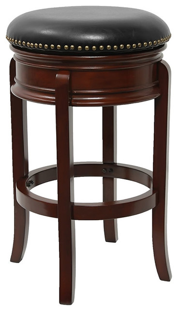 leather backless counter stools 29 quot backless cherry wood bar stool with black leather 6884