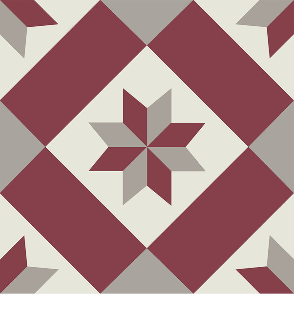 "12""x12"" Flooradorn Red Bard Quilt Tiles, Set Of 24."