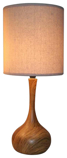 Dark Wood Texture Table Lamp With Linen Shade.
