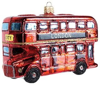 London Double Decker Bus Polish Mouth Blown Glass Christmas ...