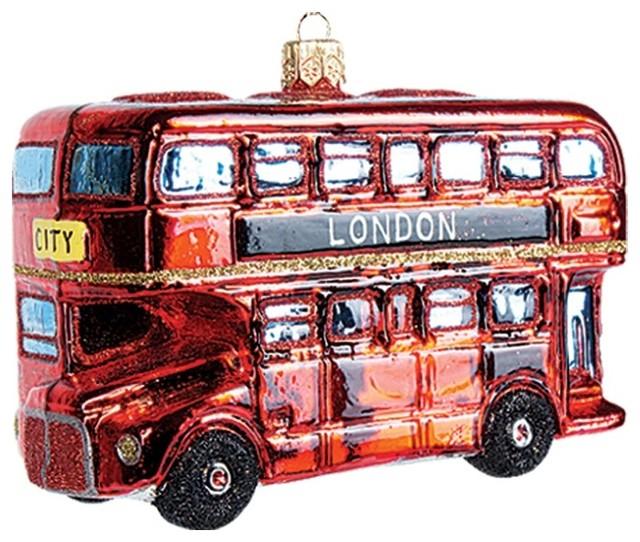 London Double Decker Bus Polish Mouth Blown Glass Christmas Ornament