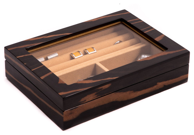 """""""ebony"""" Lacquered Burl Wood Valet Box With Glass Top, Slots For Cufflinks."""