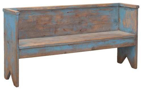 Bench, Beach House, Distressed Blue Pine
