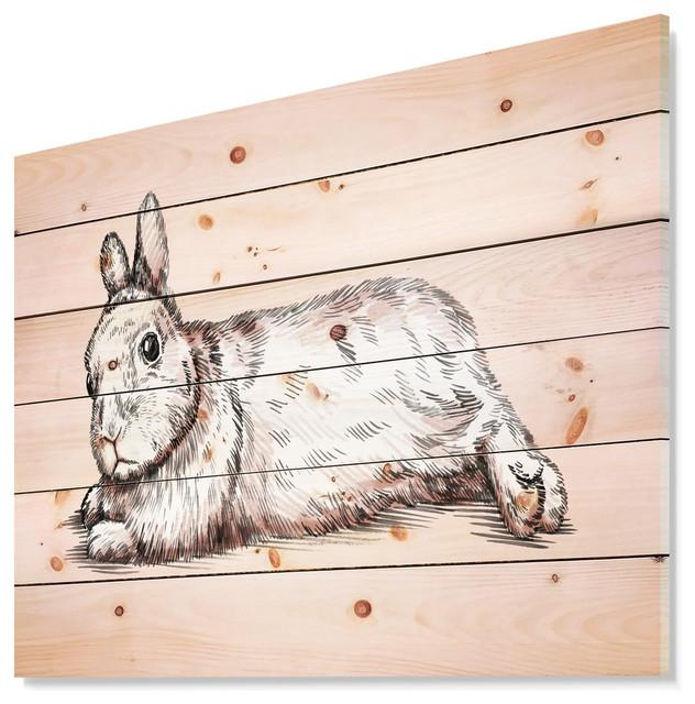 Designart Brush Ink Draw Isolated Rabbit Animal Wood Wall Art 46x36