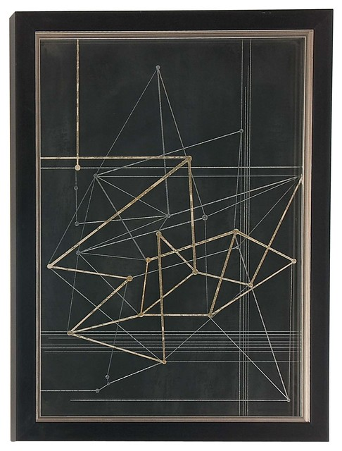 Contemporary Wood And Polystone Triangles And Lines Framed Wall Art. -1