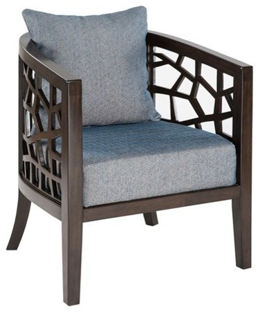Crackle Lounger Blue Transitional Armchairs And