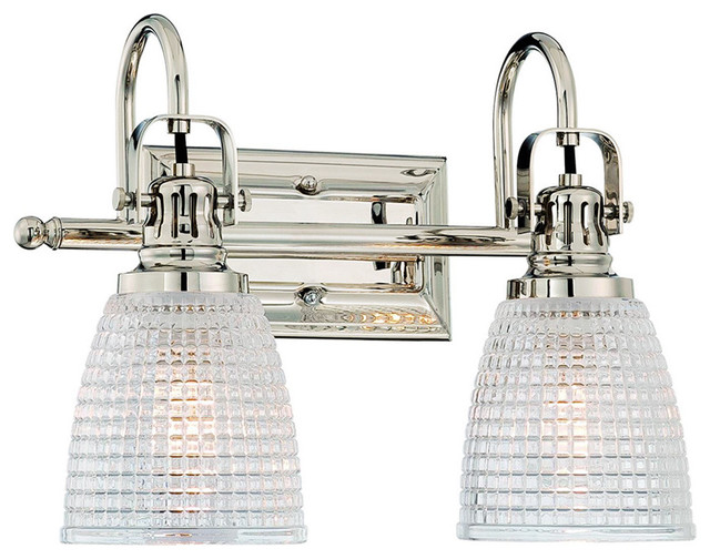 Progress Lighting Archie 3 Light 8 75 In Polished Chrome: Oakley 2-Light Bathroom Vanity Fixture Beehive Prismatic