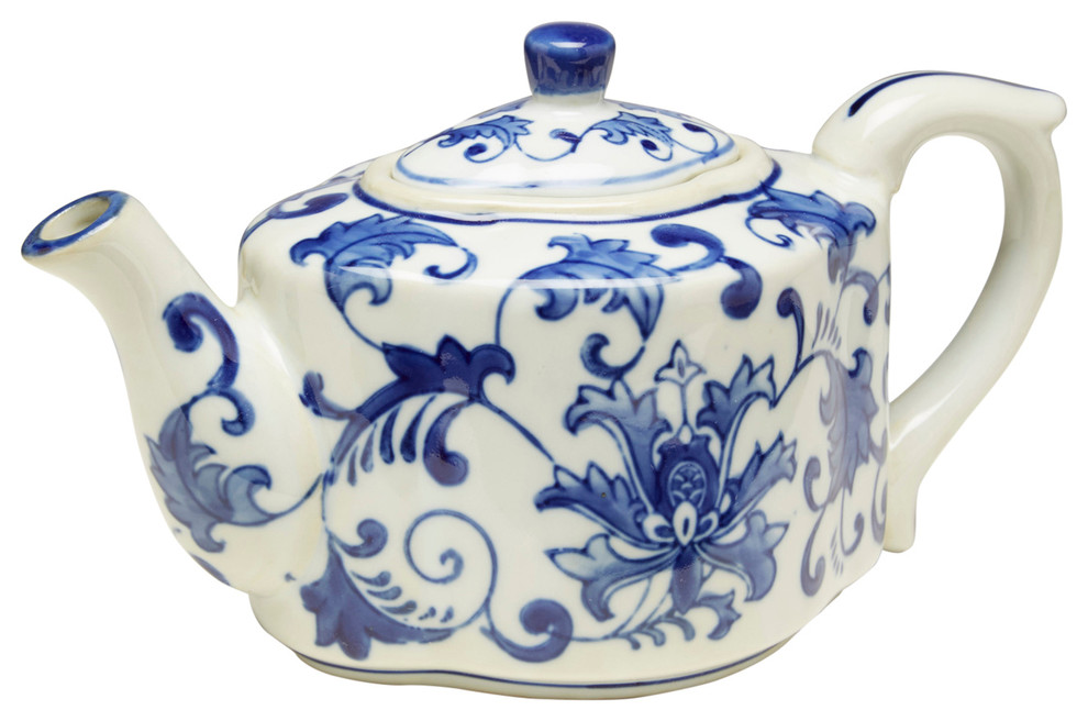 Blue and White Porcelain Teapot Chinese Style Tea Kettle A1