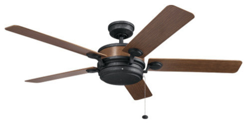 "Kichler 310085 60"" Uma 5 Blade Indoor/outdoor Ceiling Fan, Auburn Stained Finish."