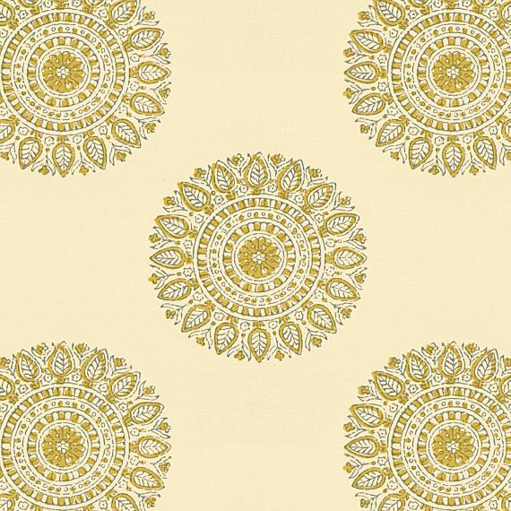 Light Green Sunburst Block Print Fabric