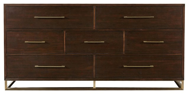 Gibson Modern Brushed Gold Mahogany 7-Drawer Dresser.