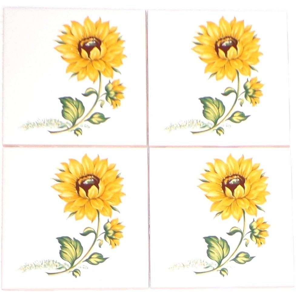 Sunflower Kiln Fired Ceramic Tile Backsplash Tiles Set Of 4 Tile Murals By Mottles Murals Ceramic Tiles