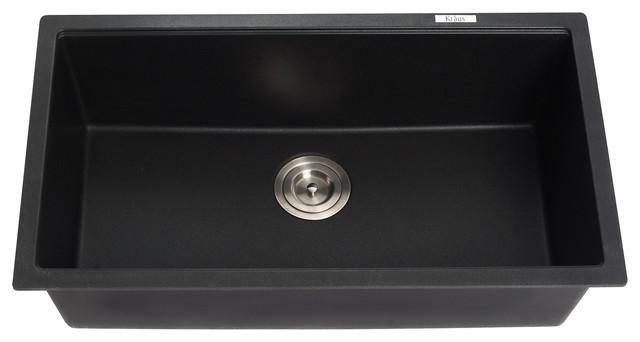 kraus kgu 413b undermount single bowl black onyx granite kitchen sink modern kitchen sinks. Black Bedroom Furniture Sets. Home Design Ideas