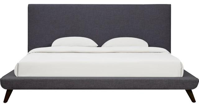 Coralynn Linen Bed Frame, Gray, Queen.