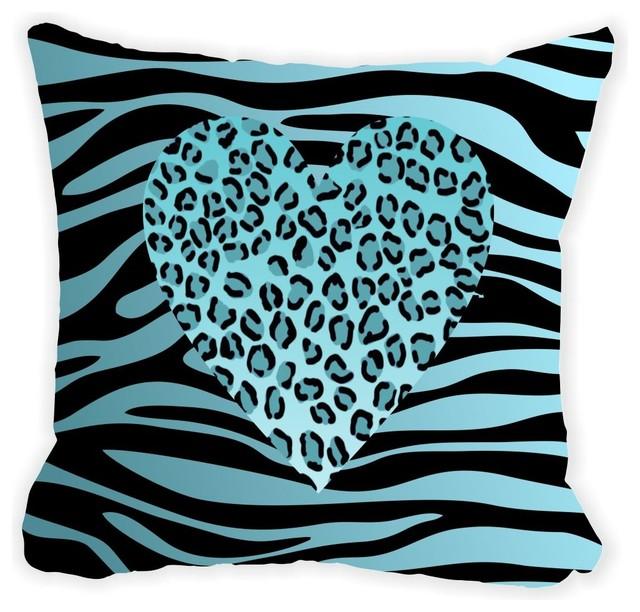 Rikki Knight LLC - Blue Leopard Heart On Zebra Background Microfiber Throw Pillow & Reviews Houzz