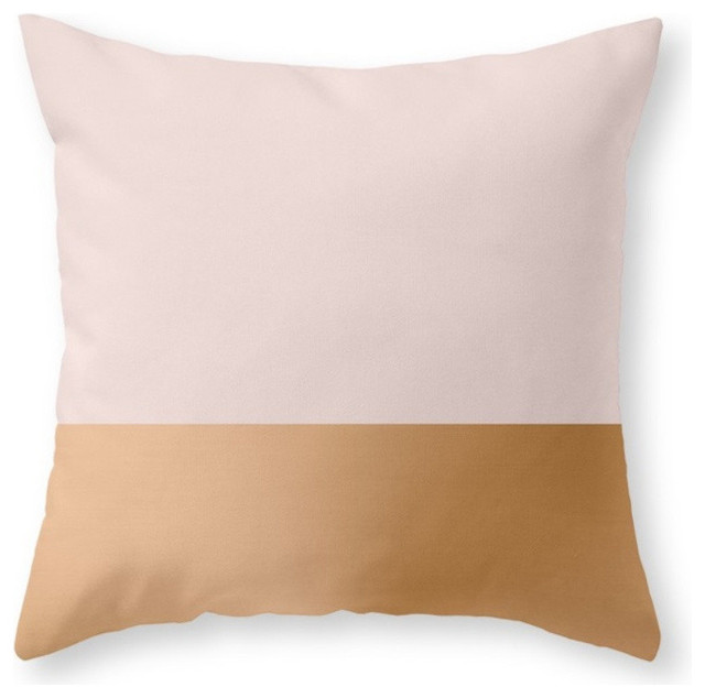 "Blush Pink And Copper Throw Pillow Cover, 20""x20"" With Pillow Insert."