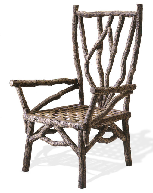cast aluminum rustic oak dining armchair no cushion chairs