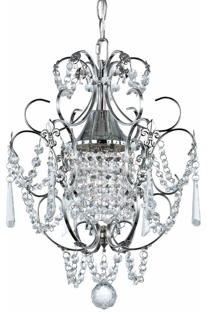 crystal mini-chandelier pendant light  chrome finish - traditional - chandeliers