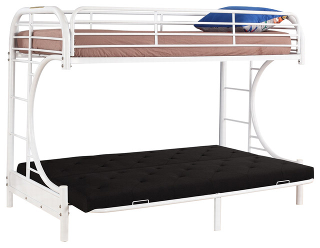 Twin Over C Futon Metal Bunk Bed, White.