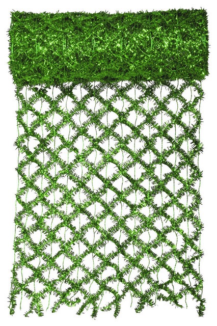 Commercial Length Extra Wide Wired Mesh Tinsel Garland Ribbon, Green, 30&x27;x12.