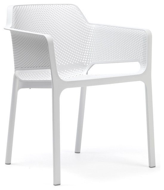 Net Stacking Armchairs Set Of 4 White Modern Outdoor Dining Chairs