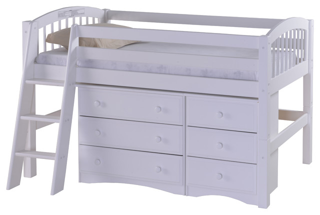 Camaflexi Twin Low Loft Storage Bed Arch Spindle Headboard White