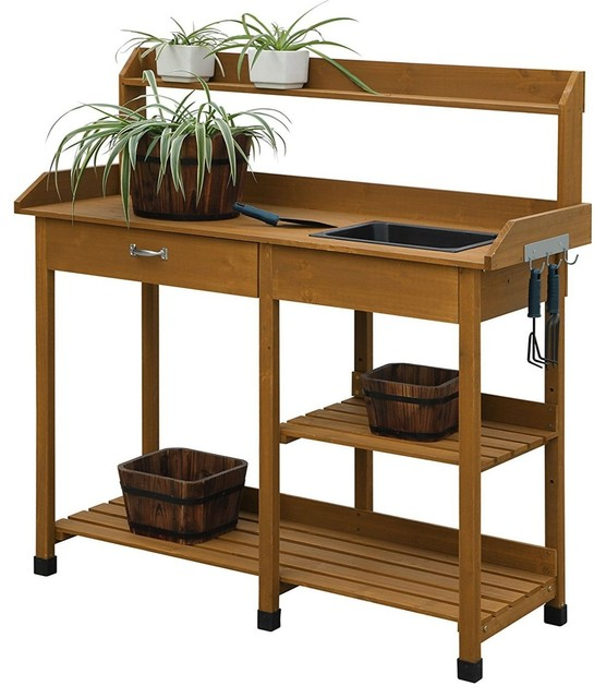 Lakewood 3 Person Swing, Outdoor Garden Wood Potting Bench Work Table With Sink In Light Oak Finish Craftsman Potting Benches By Hilton Furnitures