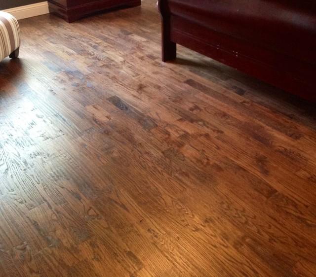 Handscraped Red Oak Flooring Traditional