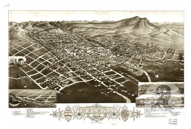 1890 Helena Montana Vintage Old Panoramic City Map 24x36