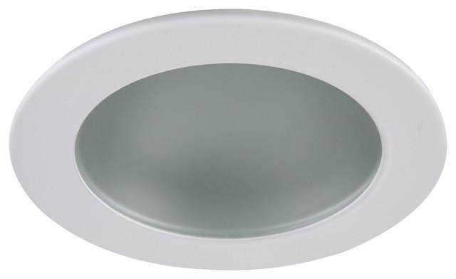 "Fresnel Glass Restoration Bath Light: 3"" Shower Trim Frost Glass With Matte White Trim Ring"