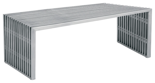 Amici Brushed Stainless Steel Bench Modern Outdoor