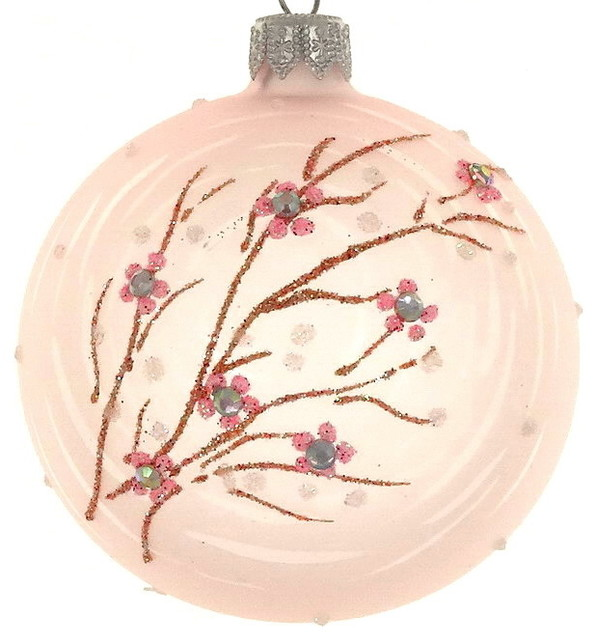 Pastel Christmas Ornaments.Pink Pastel Branch Ornament Set Of 4 4