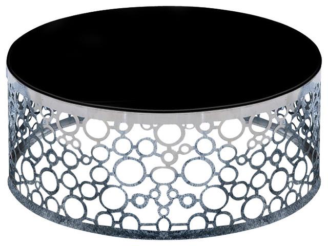 Modrest Zircon Modern Black Glass Top Coffee Table Contemporary Coffee  Tables