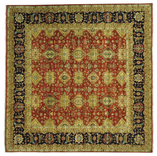 "9 X 12 Nourison Nourmak Hand Knotted 100 Wool Persian: 11'8""x12' Handmade Rust Red Karajeh 100 Percent Wool"