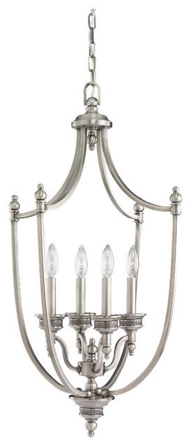 4-Light Laurel Foyer Light, Antique Brushed Nickel.