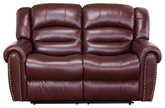 chelsea burgundy leather loveseat