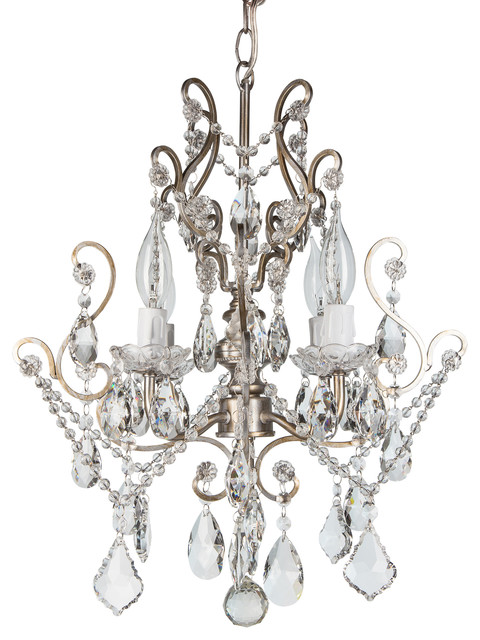 Theresa 4 light wrought iron crystal chandelier silver traditional chandeliers by amalfi - Traditional crystal chandeliers ...
