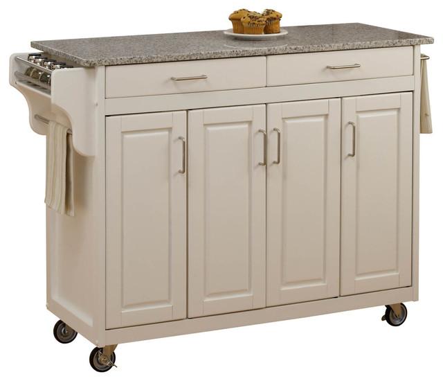 Tiberius Cuisine Cart, White, Salt And Pepper Granite Top.