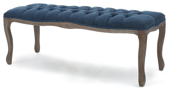 Tasette Tufted Royal Blue Fabric Bench.