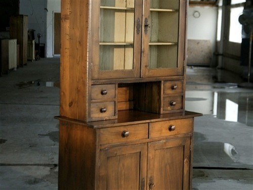 - Very Rustic Old Pine Hutch With White Interior - View in Your Room! | Houzz
